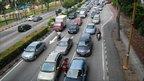Cars in a traffic jam in Kuala Lumpur