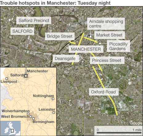 Trouble spots in Manchester