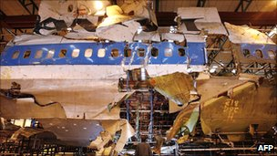Recovered wreckage of Pan Am flight 103 in warehouse after crashing in Lockerbie