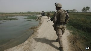 A US Marine patrols in Helmand province