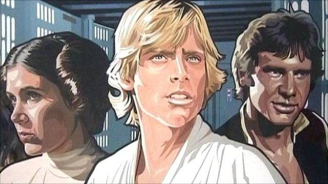 Princess Leia, Luke Skywalker and Han Solo