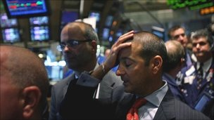 Despondent traders on the New York Stock Exchange in September 2008