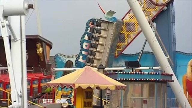Damaged ride in Skegness Pleasure Beach
