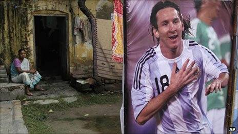 A Messi poster outside a home in Calcutta, India