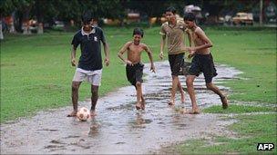 A football game in Calcutta