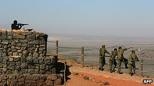 Israeli troops in Golan Heights