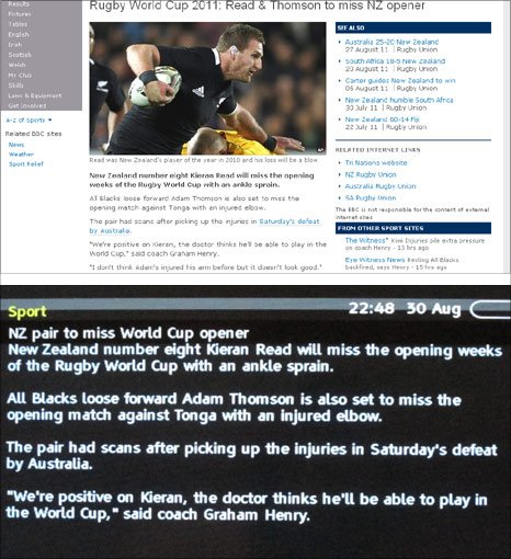 This is the same story on the BBC Sport website and the Red Button text service