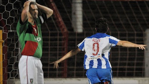 Coleraine's Curtis Allen celebrates his equaliser against Glentoran.