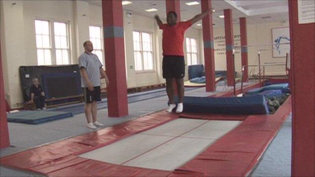 Dekan Apajee tries out trampolining
