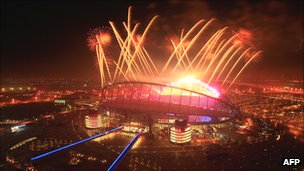 Closing ceremony of 2006 Asian Games in the Khalifah International Stadium, Doha, Qatar