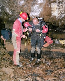 A cave diver prepares to explore a cave in Dubrovnik