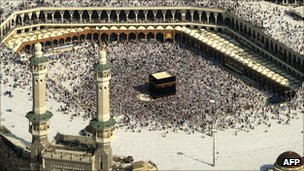 View of the Grand Mosque in Mecca, with the Kaaba in centre