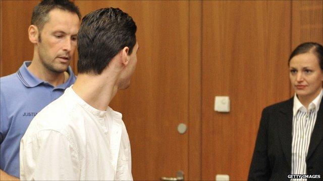 Arid Uka arrives in court in Frankfurt