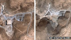 Suspected nuclear facility site in Syria before and after a 6 Sept 2007 Israeli airstrike