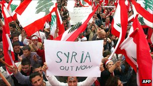 Anti-Syrian protest in Beirut, Lebanon, March 2005