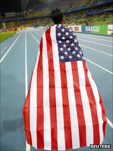 US athlete wearing the Stars and Stripes