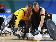 Australia and Germany challenge for the ball at the Beijing Paralympics