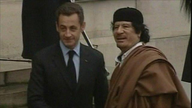 France's President Sarkozy with Col Gaddafi