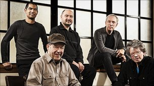 Steve Reich (seated with cap) with Kronos Quartet. Photo by Jay Blakesberg