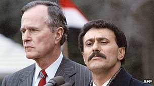 President Saleh and US President George Bush meet in 1990