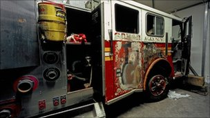 Damaged fire engine