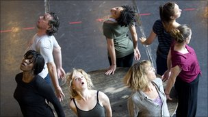 Decade cast members rehearsing