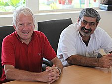 FIA race director Charlie Whiting with Indian motorsport boss Vicky Chandhok