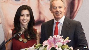 Tony Blair with actress Li Bingbing