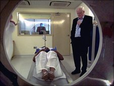 Sir Gerry Robinson watches CT scan in Harley Street
