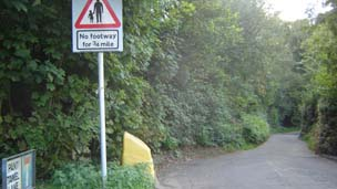 The road leading to the field in Radyr