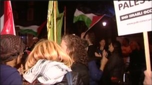 Pro-Palestinian group protest outside the Royal Albert Hall