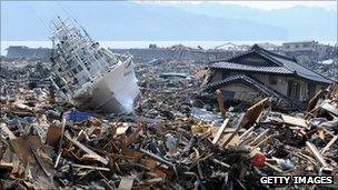 Devastation caused by earthquake and tsunami