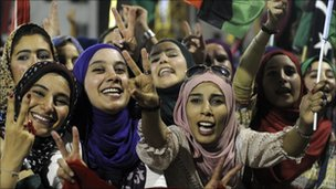 Libyan women celebrate in Martyrs&#039; Square, Tripoli