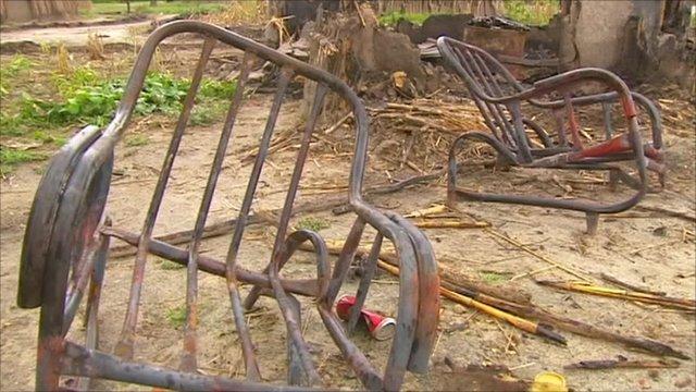 Metal chair frames, left after fire