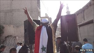 Anti-government protest in Saqba, Syria, 31 August