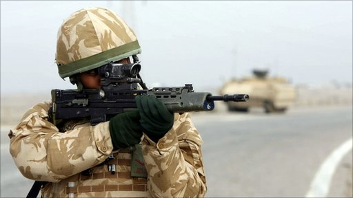 British army soldier on patrol in Basra