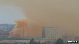 Chemical smoke rises over Chelyabinsk in Russia, 1 September