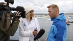Ronan Keating and Jenny Frost at Holyhead sailing club on Anglesey ahead of The Swim