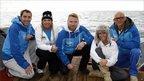 Steve Parry, Pamela Stephenson, Ronan Keeting, Jenny Frost and Jason Bradbury on a support boat, as they await their next stint swimming across the Irish Sea