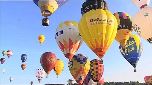 Hot Air balloons at the Coupe A�ronautique Gordon Bennett event - aiming to fly the furthest distance possible to win the competition.