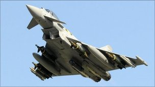 Royal Air Force Typhoon taking off for Libya