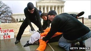 Protesters demonstrating waterboarding in Washington DC