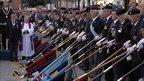 Ex-servicemen lower their flags at Wootton Bassett ceremony