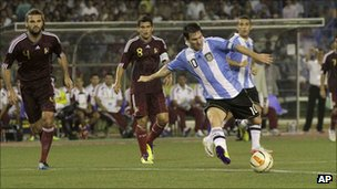 Lionel Messi during the friendly in Calcutta