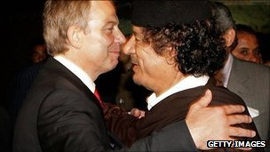 Prime Minister Tony Blair  embraces Colonel Muammar Gaddafi after a meeting on May 29, 2007 in Sirte, Libya
