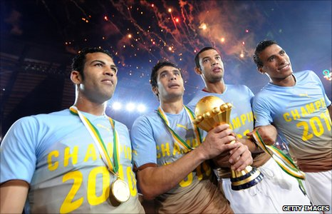 Egypt celebrate winning the Nations Cup in 2012
