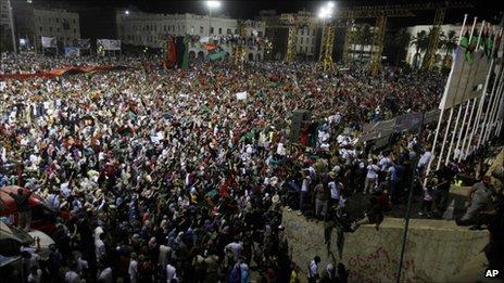Libyans celebrate in Tripoli, 2 Sept