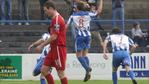 Coleraine's Stephen Lowry celebrates scoring the winning goal against Portadown at The Showgrounds