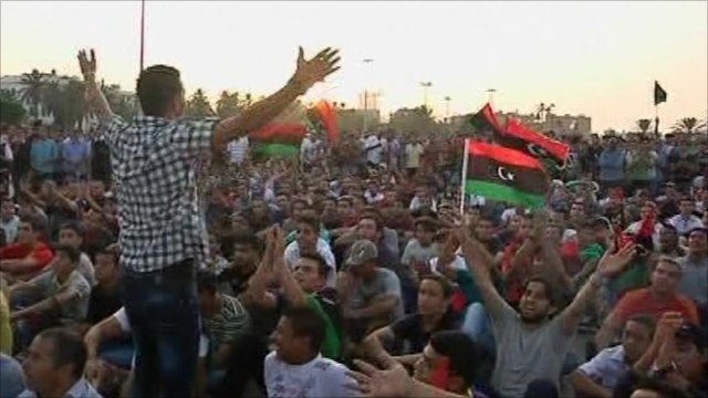 Libyan football fans gathered outside in Tripoli to watch the game