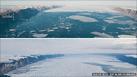 These photos of the Petermann Glacier were taken two years apart, in the summer of 2009 (top) and in July 2011